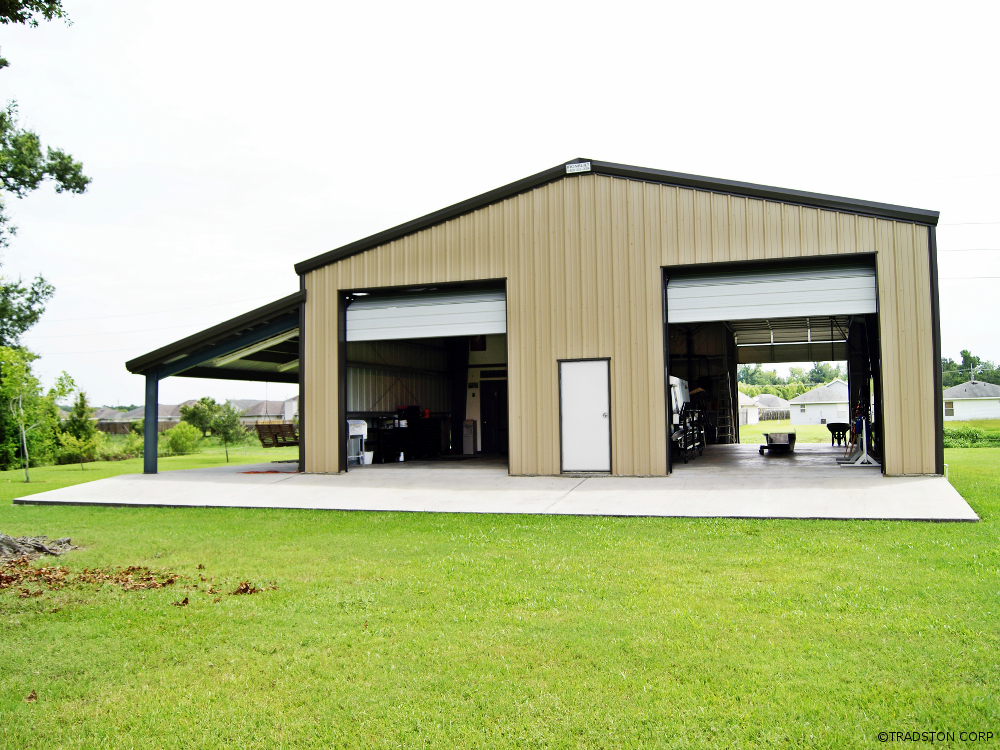 Steel Building Workshop Metal Garage With Side Canopy