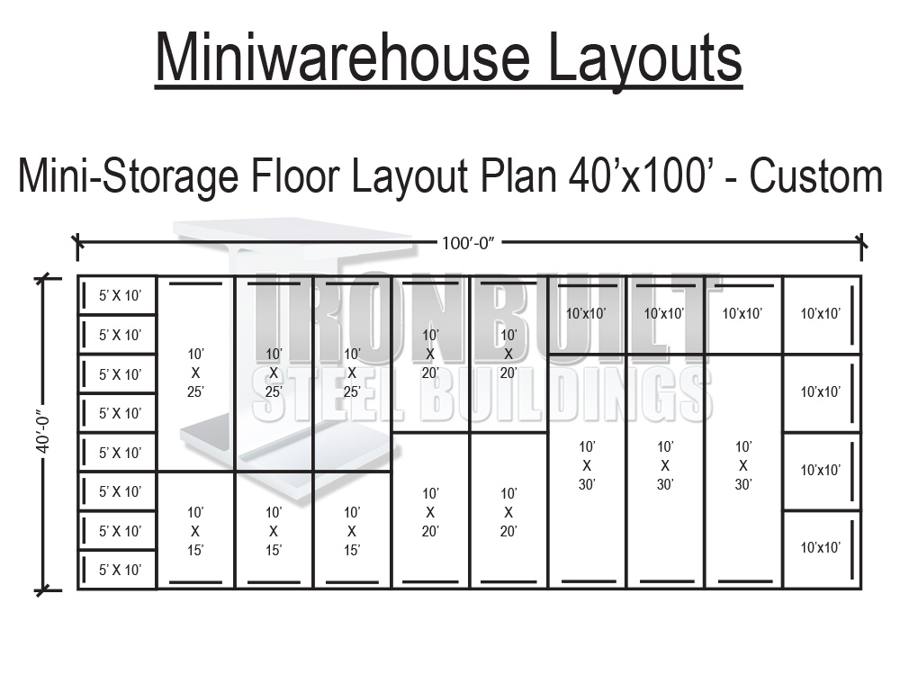 Mini storage buildings self storage buildings free floor for Storage building floor plans