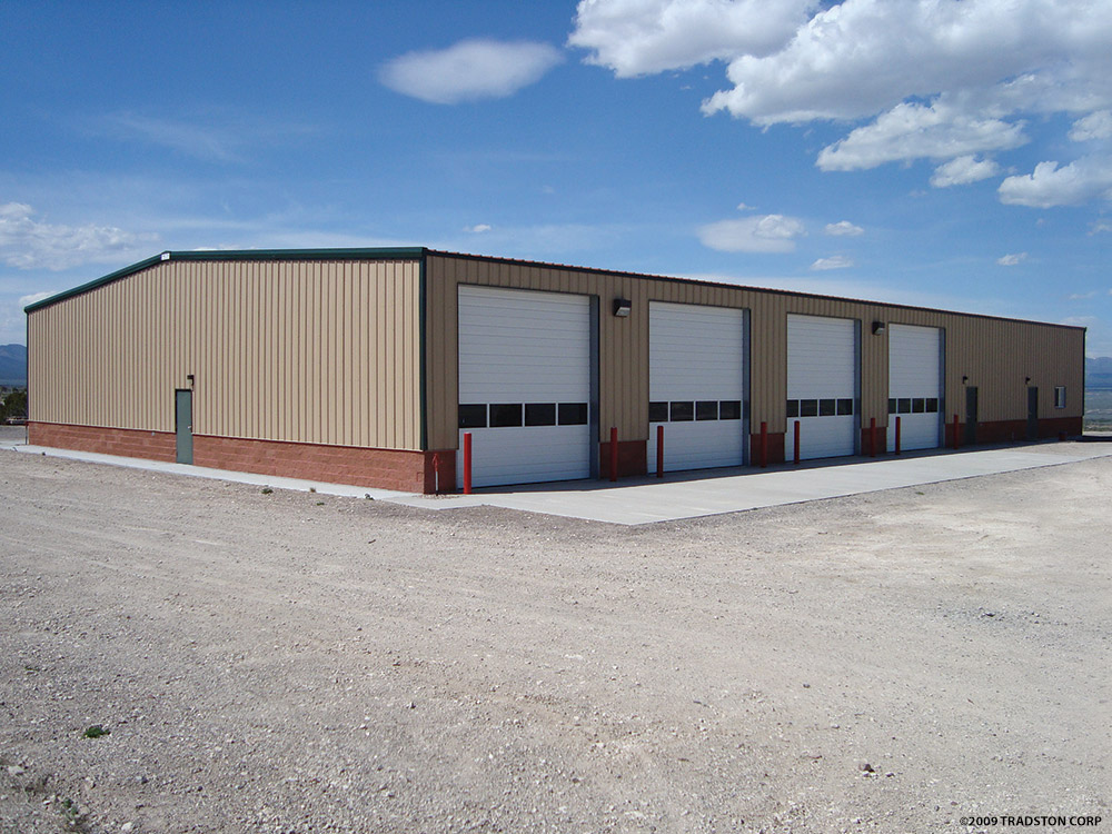 Metal buildings steel fire station buildings pre for Pre engineered garage