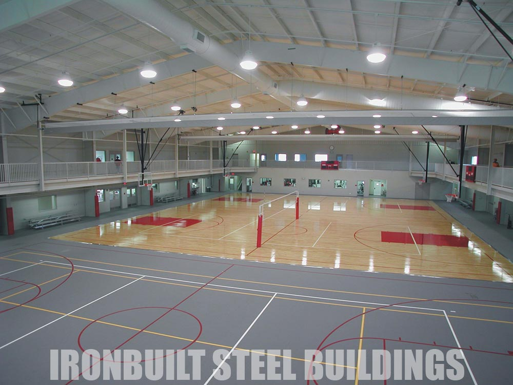 Recreational steel buildings metal gymnasiums sports for How much does it cost to build indoor basketball court