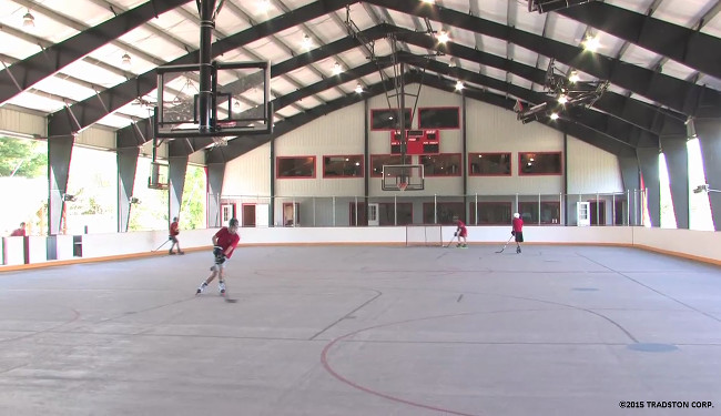 Recreational steel buildings metal gymnasiums sports for Average basketball court size