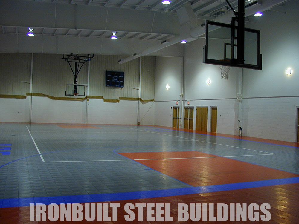 Recreational steel buildings metal gymnasiums sports for Basketball court construction cost