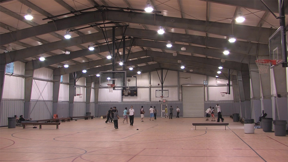 Recreational steel buildings metal gymnasiums sports for Home indoor basketball court cost