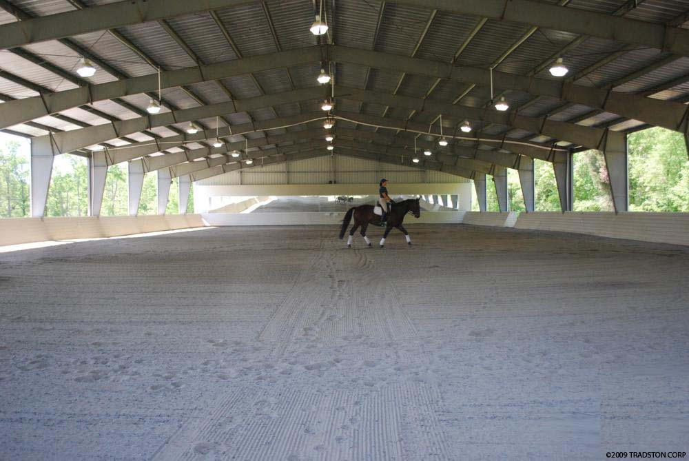 Indoor riding arenas covered horse arenas steel horse barns for Cost of building a horse barn