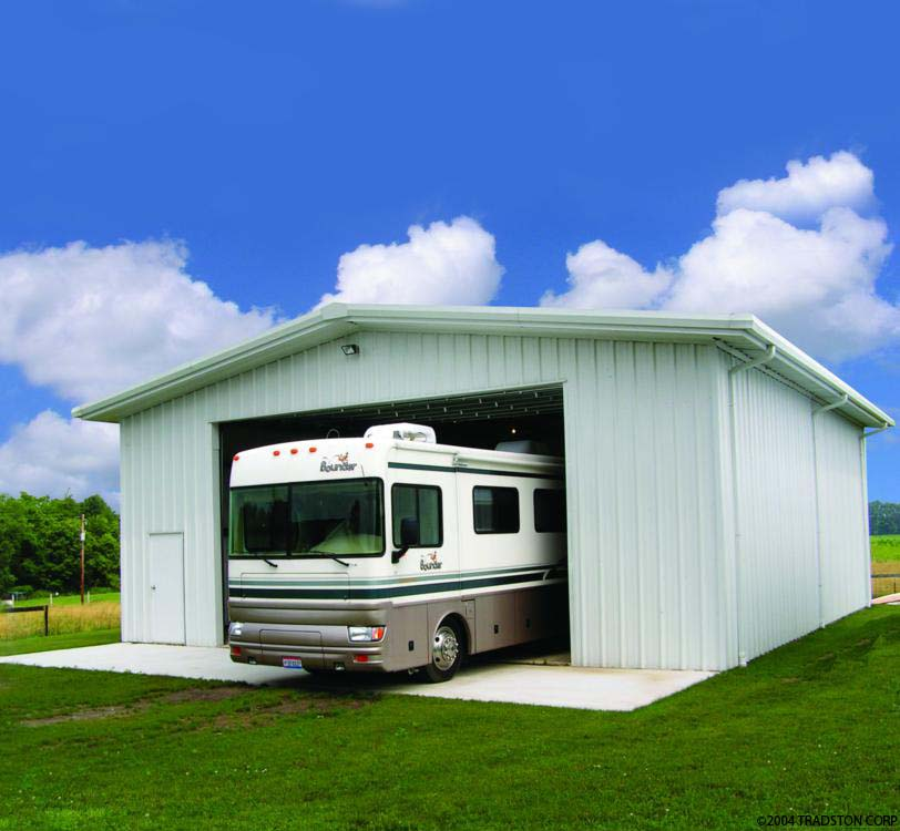 Rv storage buildings metal rv garages prefab building kits for Rv with garage