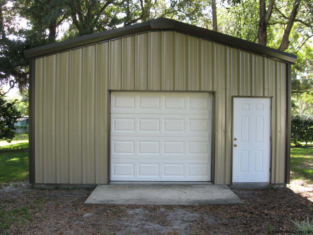 Small industrial metal buildings steel car garage for Backyard garages