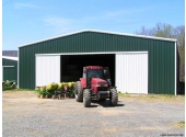 farm metal building with tractor