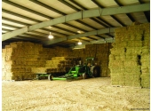 hay storage steel building with stacked square bales