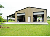 garage steel building with lean to
